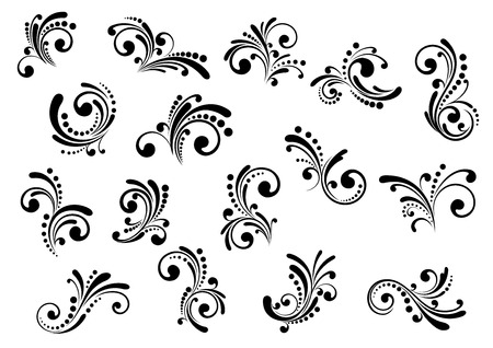 filigree: Floral motifs and design elements in swirl damask style isolated on white
