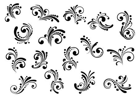 Florale motieven en design elementen in wervelingsdamast stijl geïsoleerd op wit