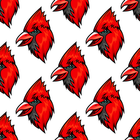 ornithological: Red cardinal bird seamless pattern in cartoon style Illustration