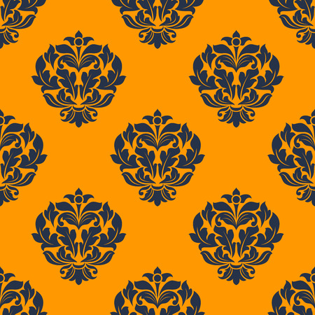 indigo colored  decorative floral  seamless pattern in victorian damask style motifs on dark orange colored background in square format for wallpaper, tiles and fabric art design Vector
