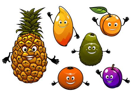frutas divertidas: Frutas tropicales frescas de la historieta fijados con una sonrisa feliz de ciruela, piña, albaricoque, naranja, melocotón, mango y aguacate