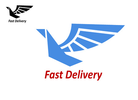 soaring: Delivery or shipping emblem with blue colored flying bird and text – Fast Delivery. isolated on white
