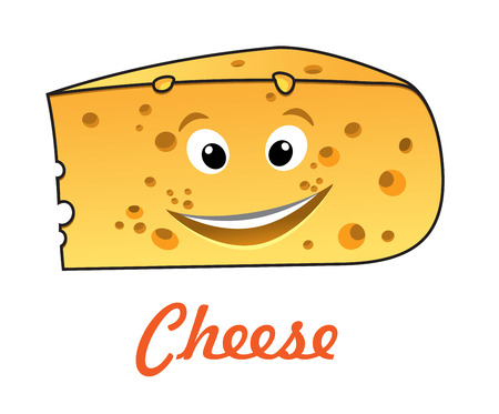 Happy cartoon cute cheese character with text - Cheese, suitable for food market design