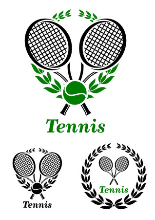 backhand: Tennis  sporting emblem or with rackets and laurel wreath isolated on white,  suitable for sports design