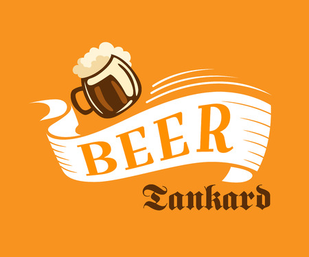 beer pint: Brewery poster with beer tankard in yellow, white and brown colors on orange background.