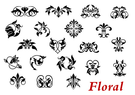 adornment: Floral ornamental elelments and vignettes in damask style isolated on white for design and ornate