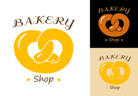 crusty: Pretzel bakery emblem element isolated on background for design bakery shop and food market