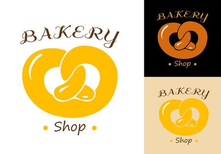 crusty: Pretzel bakery emblem element isolated on background for design bakery shop and food market