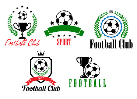 Football and soccer symbols or emblems with heraldic shield, ball, cup, laurel wreath, stars, banner  and text Vector