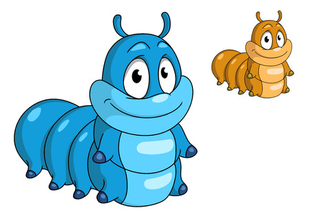 maggot: Cartoon caterpillar insect character. Blue and beige color animals for design, such as kids illustration and wildlife Illustration