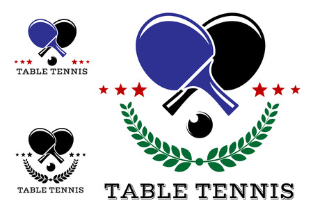 Set of table tennis emblems with ping pong ball, racket, ribbon banners, laurel wreaths isolated on white background.