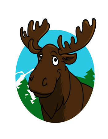 big moose: Cute funny cartoon moose or elk with a big horns and trees for wild life design
