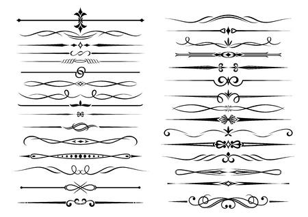 bordi decorativi: Elementi decorativi di confine vignette impostati in stile vintage, isolato su bianco. Adatto per la progettazione, come ad esempio gli elementi del documento manoscritto e certificati Vettoriali