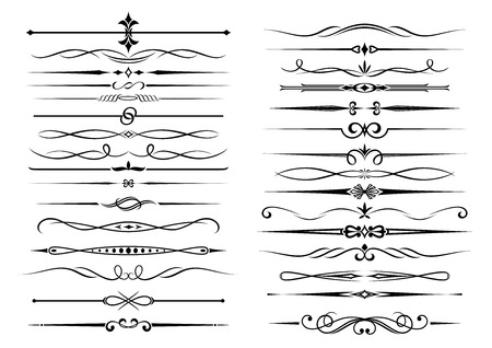 Hraniční dekorační viněta prvky sady ve stylu vintage, na bílém. Vhodné pro design, jako například rukopis a osvědčení prvky dokumentu