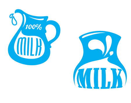 milk jugs: Milk emblem or symbols with jug and text %u2013 100 percent milk, blue color isolated on white background,  suitable for drink and agriculture design