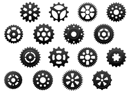 toothed: Gears and  pinions silhouettes set for technology, engineering and industrial design