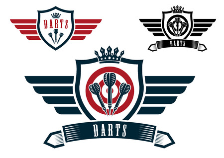 crown wings: Darts sporting emblems, labels or icons with wings, arrows, ribbon banner, crown and text