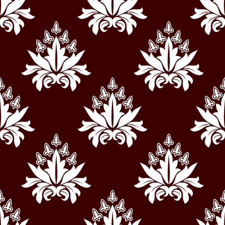 adornment: Paisley seamless floral repeat motif pattern in persian style, white flowers on brown colored background for wallpaper, tiles and fabric design