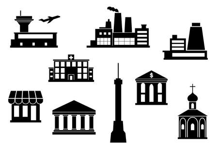 bancarella: City Building icons set - aeroporto, torre della televisione, impianto, fabbrica, tempio, chiesa, banca, bancarella, teatro per architettura, design industriale e di viaggio. Stile piatto