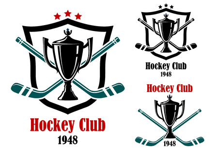 Ice hockey symbols and emblems with trophy prize cup, stars, stick, heraldic shield and text Hockey Club. Vector