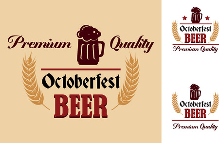 Retro beer emblem, label or insignia with an curved ear vignette and the text Premium Quality Oktoberfest Beer. Suitable for Oktoberfest, bar, pub and restaurant menu design Vector