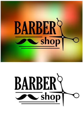 sign pole: Black and white retro barber shop emblem or logo with moustache, scissors and the text  BARBER shop for service industry design Illustration