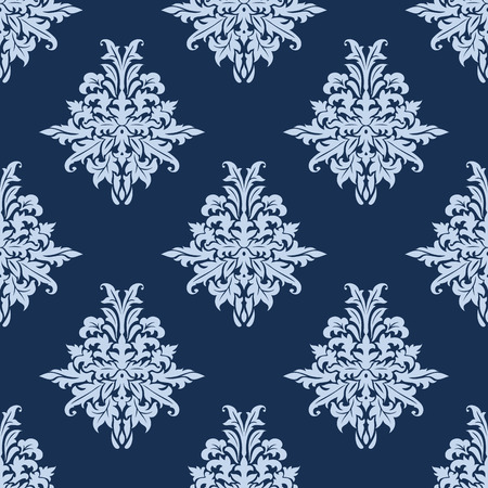 backdrop design: Floral retro light blue seamless pattern on dark blue colored background, for backdrop, wallpapers and textile design