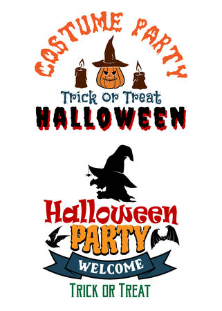 costume party: Halloween costume party banners with yellow pumpkins, witch, candles, black bats and text Truck or treat, Halloween, Welcome. For Halloween design