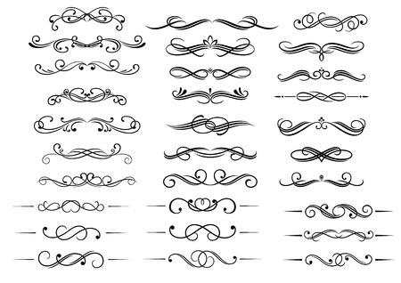 Elementos y cabeceras caligráficos decorativos conjunto aislado en blanco. Para el diseño retro y adornos