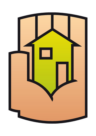 Home icon protected in a stylized hand conceptual of ownership, safety and security. For family, rent or  real estate logo design  Vector