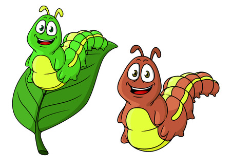 Cartoon funny caterpillar characters in two variations, isolated and on leaf for kids illustration and wildlife Vector