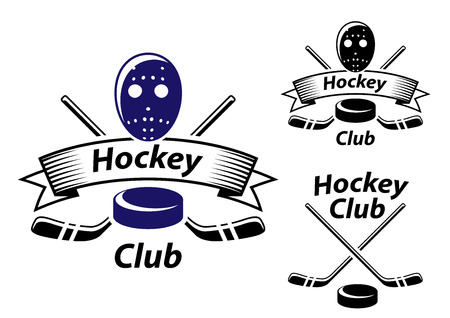 Ice hockey emblems and symbols with goalie mask, sticks, ribbon and puck suitable for sporting logo and recreation design