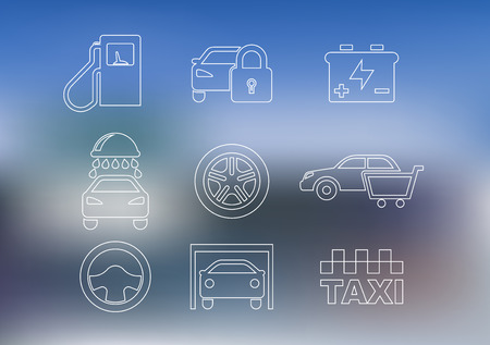 Outline car service icons set with car, taxi, security alarm, steering wheel, garage, oil, washing, battery and shopping cart Vector