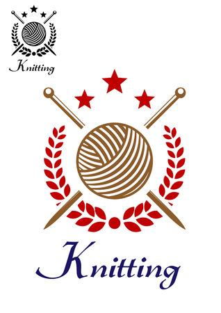 手ニットまたは編み糸のボールとレトロなエンブレム スティック、星および月桂樹の花輪