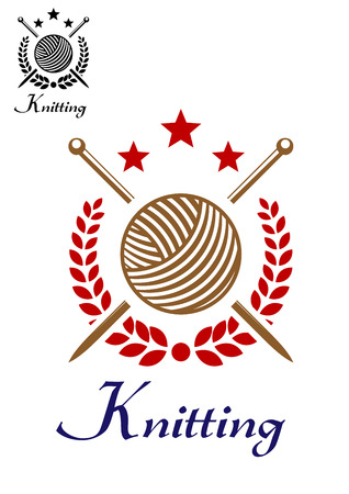 yarns: Hand knit or knitting retro emblem with yarn ball, sticks, stars and laurel wreath