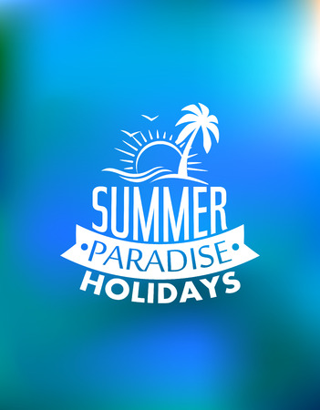 夏の太陽、波、ヤシの木、鳥、テキスト夏休みパラダイスとパラダイス ポスター ポスター デザイン。旅、旅行、冒険またはロゴの設計のため