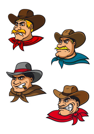 Cartoon western brutal cowboys characters for mascot, farming or comics design Vector