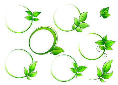 Green round  frames with leaves isolated on white background for environment concept
