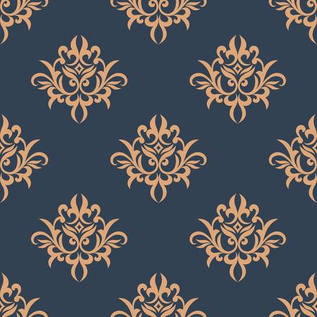 Floral vintage seamless pattern in damask style on indigo or dark blue background Vector