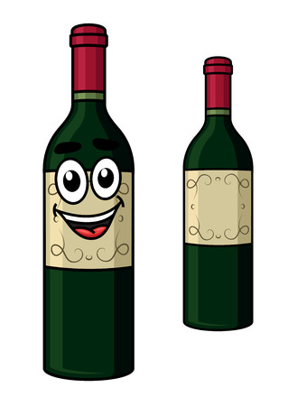 Cartoon wine bottle with a happy smiling face isolated on white for winery industry or beverage design Vector