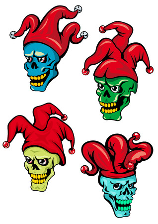 evil clown: Cartoon clown or joker skull with hat, bells and eyes. For Halloween, t-shirt  and tattoo design Illustration