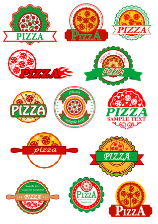 Fresh italian pizza labels, banners and emblems with pizza, cheese, mushrooms and salami for  fast food logo, cafe and restaurant