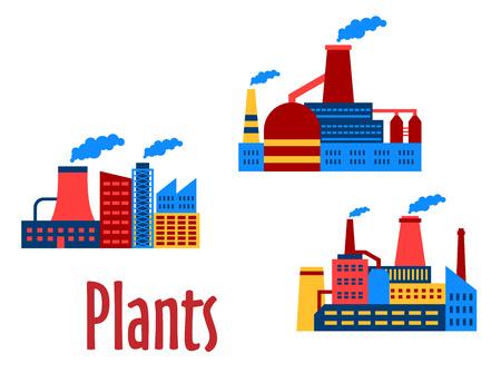 Factory und Pflanzen bauen flache Icons isoliert auf weißem Hintergrund. Kann für Industrie- und Umwelt-Design sein Standard-Bild - 31016353