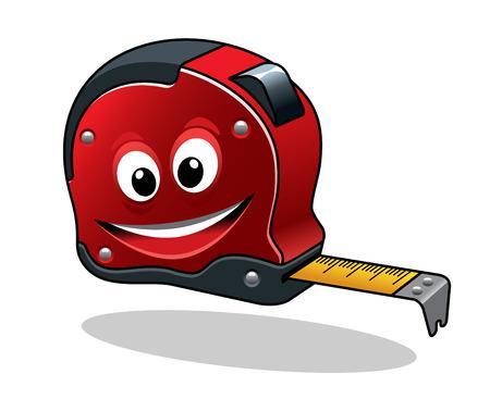건설 개념 설계를위한 만화 캐릭터 스타일 절연 테이프를 측정하는 도구 일러스트