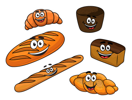 bread rolls: Cartoon fresh bread bakeries with  baguette, croissant, loaf of white bread, bagel and plaited crusty loaf