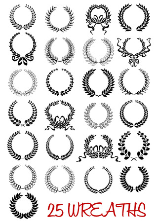 Round laurel wreaths icons with ribbons and laurel branches in retro heraldic style isolated on white. For awards and anniversary or heraldry decoration Vector