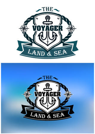 Heraldic marine shield with rope, anchor, compass, ribbon and text Voyager. For marine, transportation or logo idea design  Vector