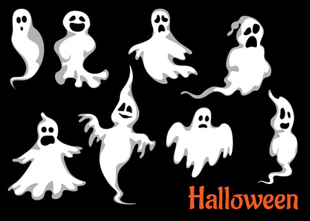 ghost character: Night halloween ghosts set isolated on black background for fear and scary holiday design Illustration