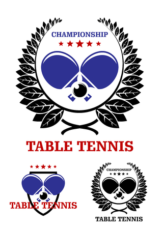 Table tennis emblems with table tennis ball, racket, laurel wreaths and text Table Tennis Championship, suitable for sports, recreation or logo design