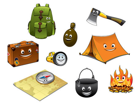 Cartoon camping and travel icons set with backpack, flask, axe, suitcase, lantern, tent, pan, pot and fire Vector